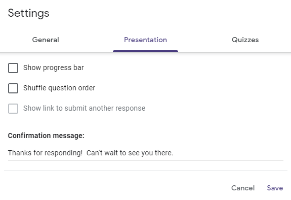 Google form presentation