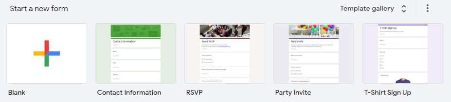 Google form main page