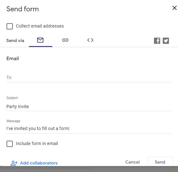 Send google forms