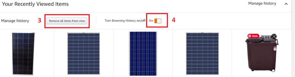 Delete Amazon Browsing History