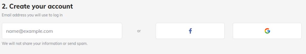 Create account on hostinger