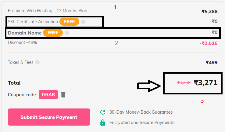 Final payment amount for one year hosting on hostinger